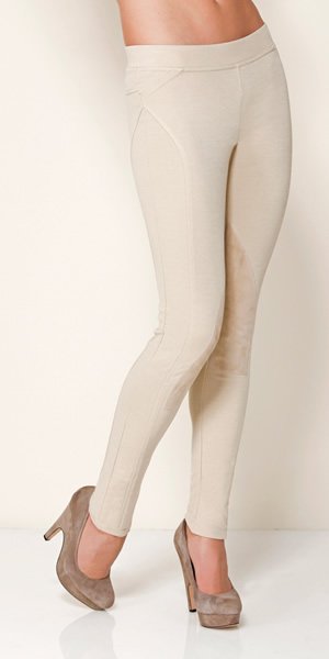 PONTE LEGGINGS w. SUEDE PATCH