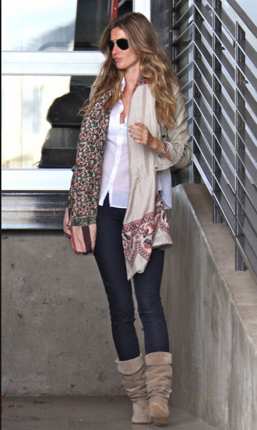 Gisele Bundchen makes easy, comfortable bohemian style look elegant.