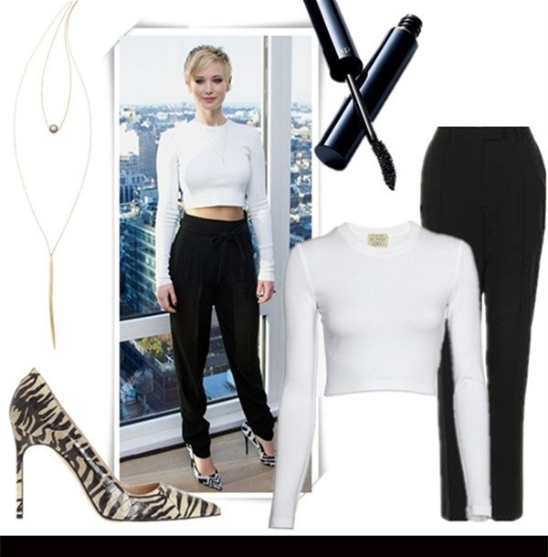 The-Art-of-Accessorising-Helenhou.com-Jennifer-Lawrence-party-outfit-crop-top-highwaisted-pants-necklace-printed-pump