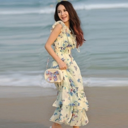New-Summer-Korean-Style-Bohemia-Floral-Print-Chiffon-Long-Lady-Dress-Beach-Dress-Blue-Butterfly-Free-Size_650x650