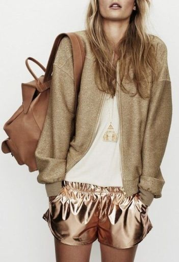 Athleisure gold shorts and sweater