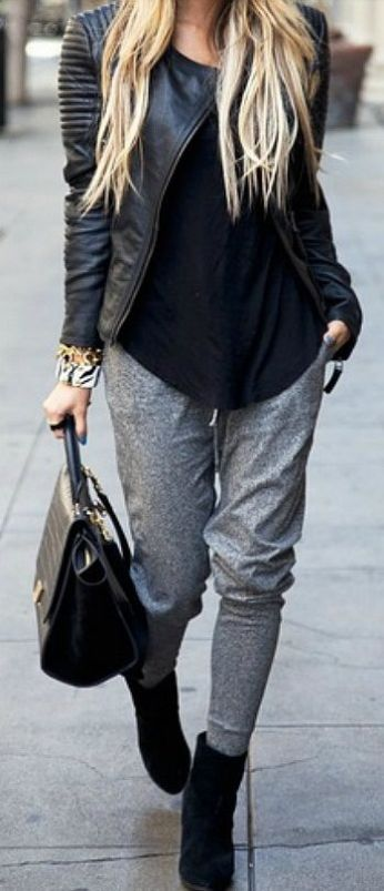 Athleisure gray leggings and black leather jacket