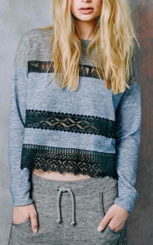 gray and black lace sweatshirt
