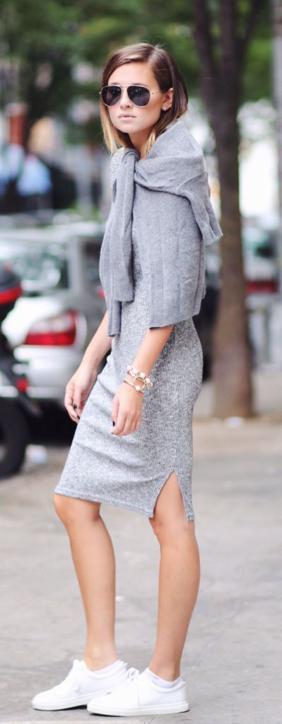 gray knit dress and sneakers