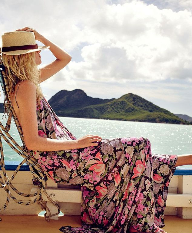 Summer floral maxi dress on vacation