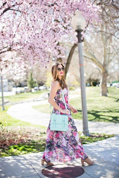 floral long summer maxi dress