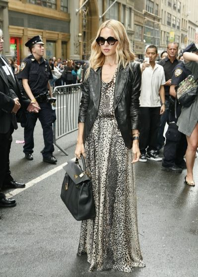 Rachel Zoe maxi dress for the office with black leather jacket