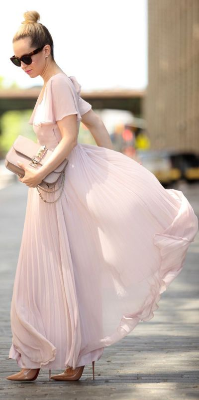 blush pink maxi dress for summer
