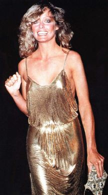 Farrah Fawcett gold sequined gown
