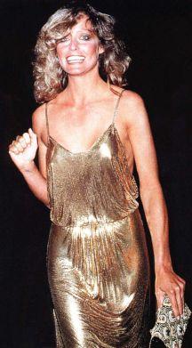 Farrah Fawcett gold sequined gown
