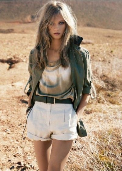 high waisted shorts with army green jacket trending for Summer