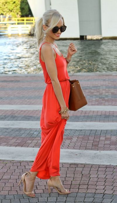 coral pink sleeveless Maxi Dress for summer weddings