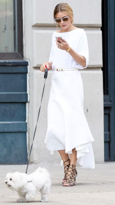white skirt and white blouse for Summer