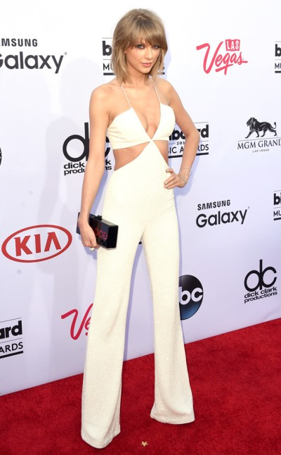 Taylor Swift Summer cut-out white jumpsuit at the Billboard Music Awards 2015