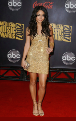 Vanessa Hudgens gold sequin 70's style dress