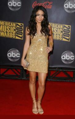 Vanessa Hudgens gold sequin 70's style dress