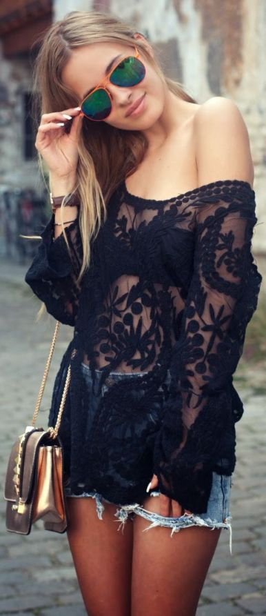 jean shorts and sheer lace tunic