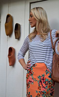 striped shirt and floral printed skirt for summer