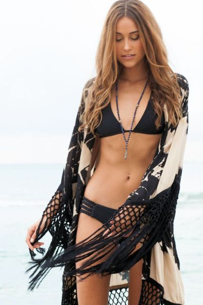 black bikini swimsuit and lace crochet Boho cover up