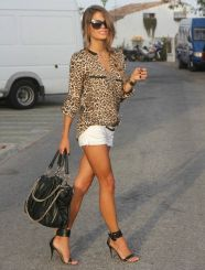 white shorts with leopard print blouse
