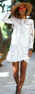 straw Boho hat and white lace dress summer style