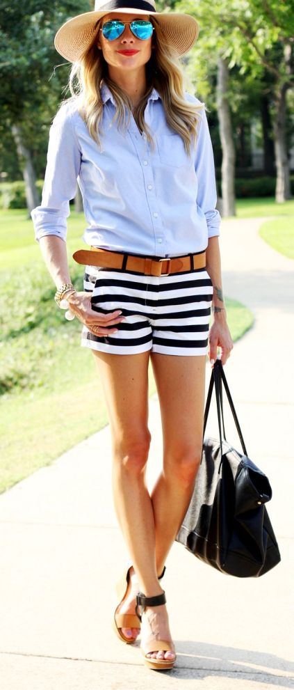striped shorts and white button down for July 4th