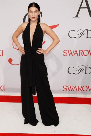 Bella Hadid in Misha Nonoo black jumpsuit at CADF Fashion Awards 2015