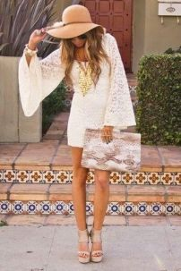 white lace dress Boho style