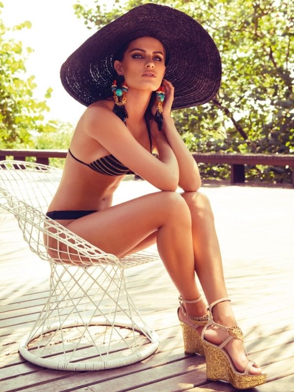 bikini swimsuit and Boho floppy sunhat with wedge sandals