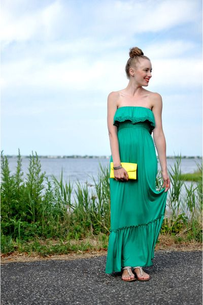 emerald green strapless sundress for summer