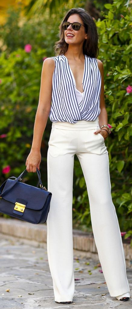 white wide leg pants and striped tank top