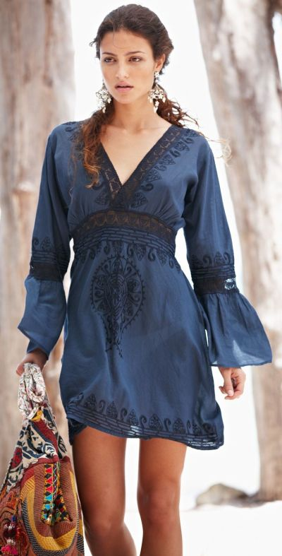 navy cotton lace Boho style swimwear cover up dress