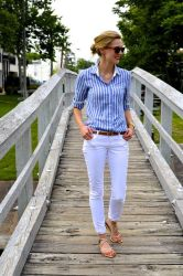 white skinny jeans and striped top