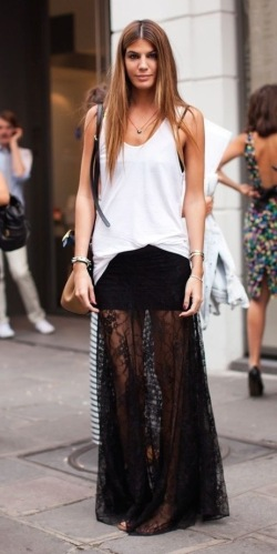 Half Line Lace Maxi Skirt