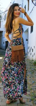 floral lace maxi dress summer festival Boho style