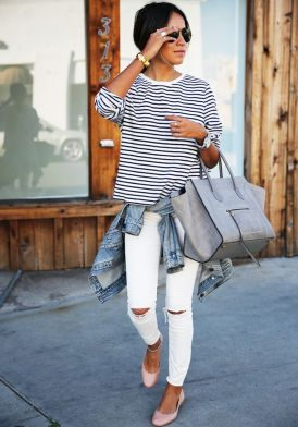 striped tee and white skinny jeans for Summer 2015