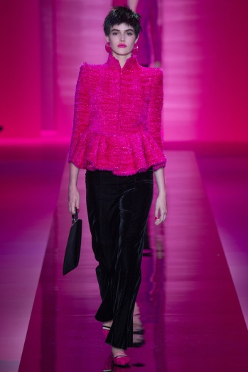 Armani bright fuchsia top and black pants