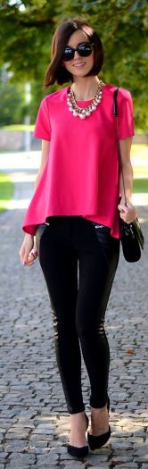 fuchsia blouse and black leggings for Summer and Fall 2015