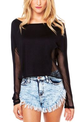 mesh cut out black blouse Liberty Garden