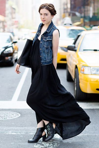 black Summer maxi dress for work