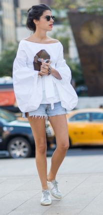 white peasant blouse with denim shorts