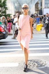 pale pink shift dress athleisure street style NYC