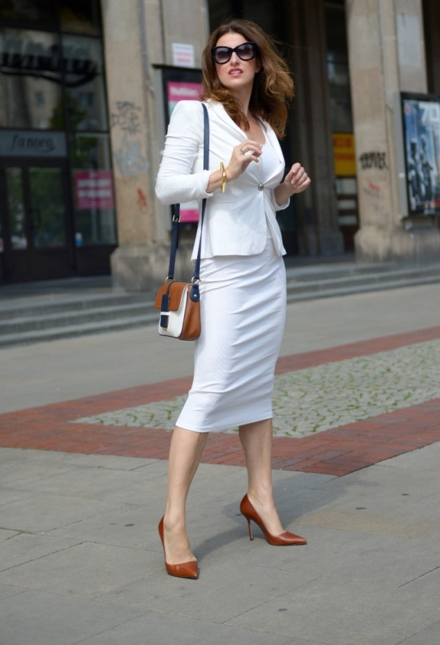 all white cute office outfit for Summer