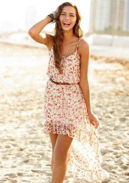 summer floral dress at the beach
