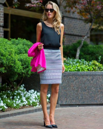 patterned pencil skirt and blouse Summer work wear