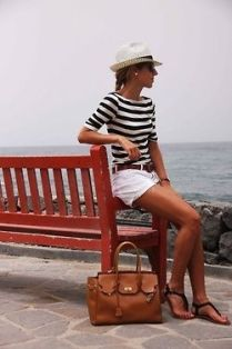striped tee and white tailored shorts