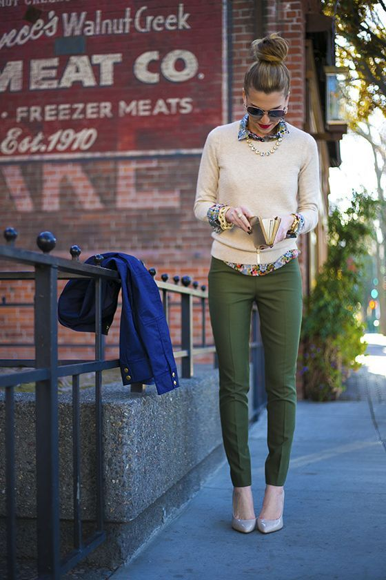 army green skinny jeans and preppy sweater