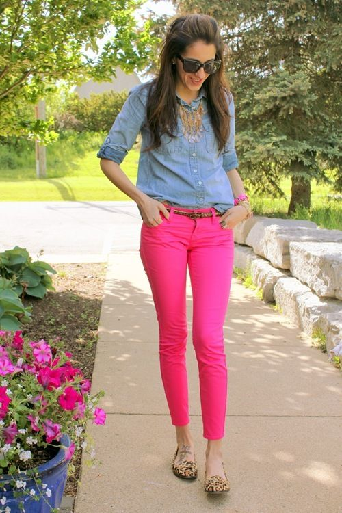fuchsia pink skinny jeans and denim button down