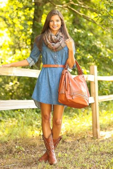 Southern denim dress and cowboy boots