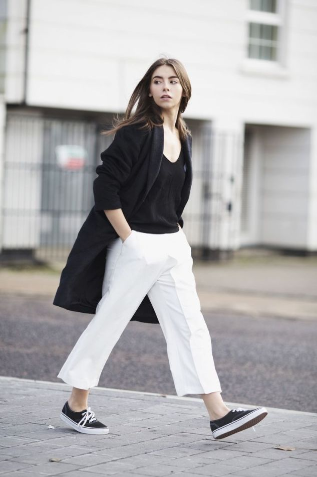 white culottes and sneakers for Fall